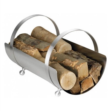 Curved Stainless Steel Log Basket