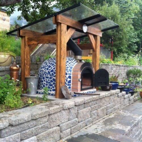 Blue mosaic outdoor wood fired oven for Garden ovens designs