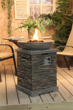 Tall Slate effect Gas Fire Pit and Patio Fire Bowl